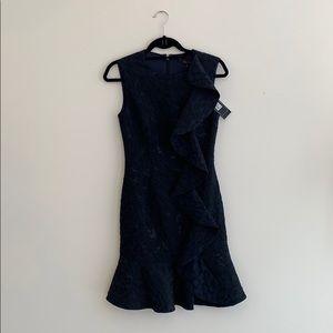 BCBG Max Azria 'dede' Navy Jacquard Ruffle Dress
